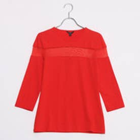 3QUARTER SLEEVE BRIANNA MESH INSET TOP (FLAME SCARLET)