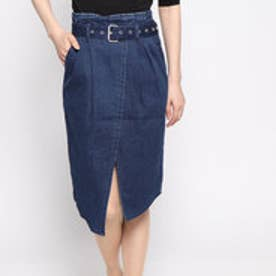 BELT DENIM SKIRT (MEDIUM BLUE)