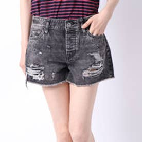 HOLLY ABRASIONS DENIM SHORT (BURNING BLACK)