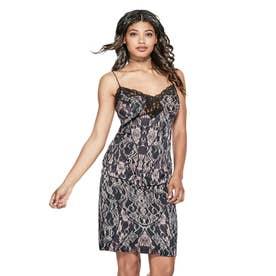 SERENA SATIN SLIP DRESS (TEMPEST LACE NAVY)