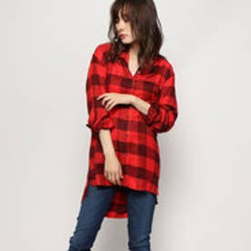LUCREZIA RHINESTONE LOGO CHECK SHIRT (RED BLACK CHECK)