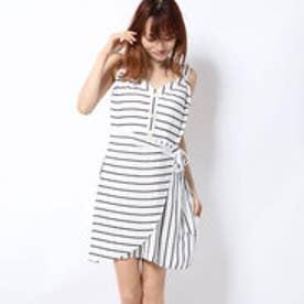 EMILEA STRIPED WRAP DRESS (CREAM WHITE MULTI)