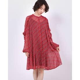 REANNA ASYMMETRIC HEM FRILL DRESS (LOVE RED COMBO)