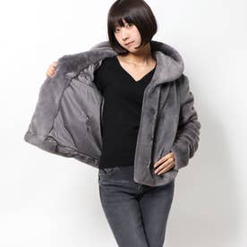 SOPHY SHAWL COLLAR FAUX FUR JACKET (PUNK ROCK GREY)