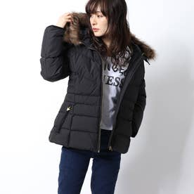 FUR HOODED SHORT DOWN JACKET (BLACK)