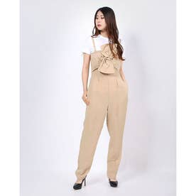 Evelina Strapless Bow Jumpsuit (BEIGE STRIPED COMBO)