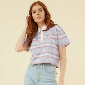 Originals Cropped S/S Polo Shirt (CASCADE STRIPE LAVENDAR)