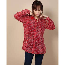 LESLIE PATENT COLLAR SHIRT (LOVE RED COMBO)