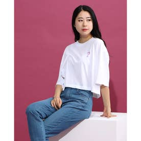 Spray Paint Logo Crop Half-Sleeve Tee (PURE WHITE)