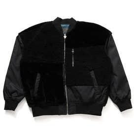 Boa & Fur Mix Padding Bomber Jacket (BLACK)