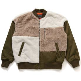 Boa & Fur Mix Padding Bomber Jacket (KHAKI)