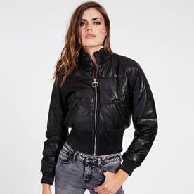 Trinity Padded Faux Leather Bomber Jacket (JET BLACK)