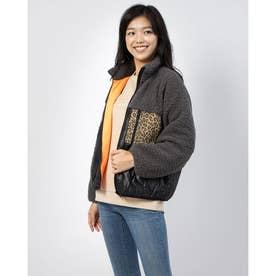 Leopard Mix Quilted Zip Up Jacket (GREY)