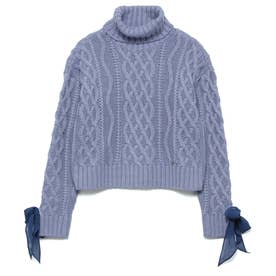 Turtle-Neck Cable Knit Sweater (LIGHT BLUE)