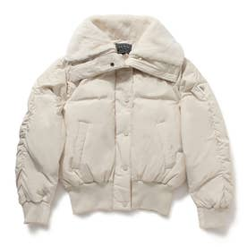 Faux Fur Wide Collar Short Down Jacket (IVORY)