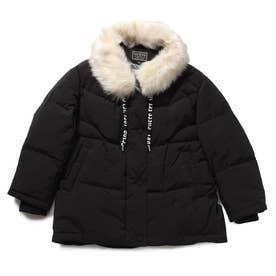 Faux Fur Loose-Fit Down Jacket (BLACK)
