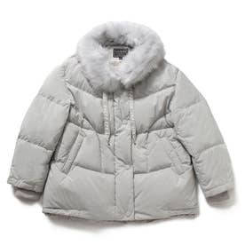 Faux Fur Loose-Fit Down Jacket (LIGHT GREY)
