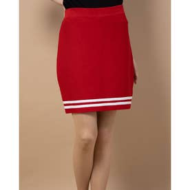MAREK STRIPE BANDAGE SKIRT (RUGBY RED)