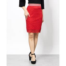 FABIOLA STRIPED-TRIM LACE SKIRT (RED ATTITUDE)