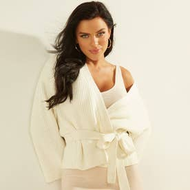 Luiza Kimono Sleeve Wrap Cardigan (OATMEAL HEATHER MULTI)