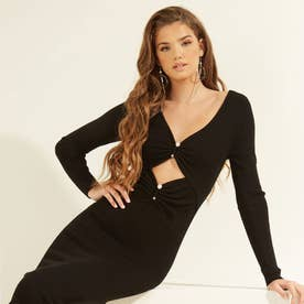 Pierced Gianna Ribbed Dress (JET BLACK)