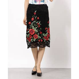 PENCIL EMBRO ROSES SKIRT (F99A)