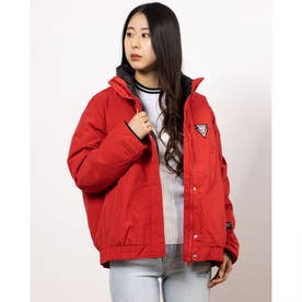 TRIANGLE LOGO DOUBLE-NECK DOWN JACKET (RED)