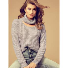 CUTOUT TURTLENECK LASH SWEATER (F1J4)