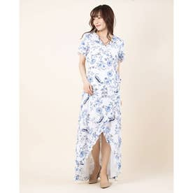 SS NICOLLE WRAP DRESS (IVY FLORAL BRILLIANT WHITE)