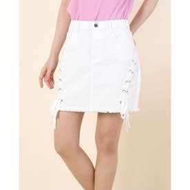 JAZLYN LACE UP MINI WHT SKIRT (TRUE WHITE)