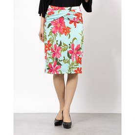 KATALINA RUCHED PENCIL SKIRT (COASTAL BLOOM AQUA PRINT)