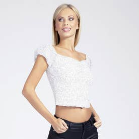 Shary Lace Top (MICRO DOTS ART WHITE COMBO)