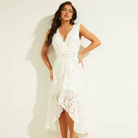 Belted Lace Dress (TRUE WHITE)
