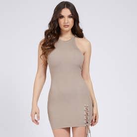Lace Up Rib Dress (WARM STONE)