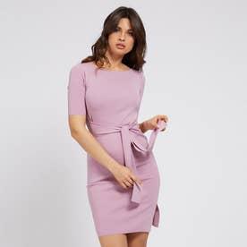 Rib Belted Dress (PINK DARLING)