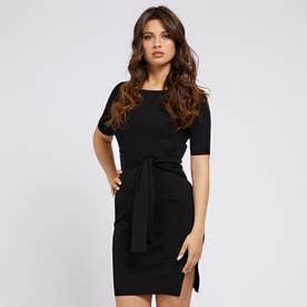 Rib Belted Dress (JET BLACK)