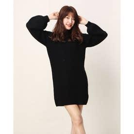 Ls Blouson Ribbed Mei Dress (JET BLACK)
