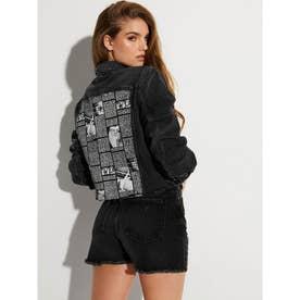 Cropped Denim Jacket (FADED BLACK WASH)