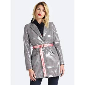 IONA TARTAN CHECK PATENT TRENCH COAT (PRINCE OF WALES WHT BLK COMBO)