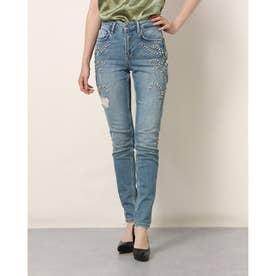 MARCIANO Embellished Mid Rise Skinny Denim Pant (MDEM)