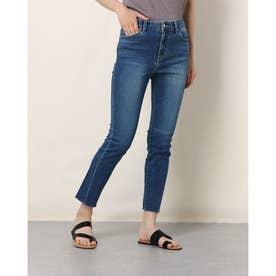Cut-Off Slim Straight Denim Pant (MEDIUM BLUE)