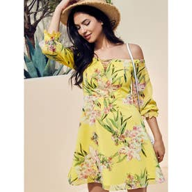 Off Shldr Tropical Iris Dress (P92B)