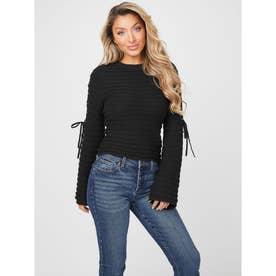 Monique Lace Up Sweater (JET BLACK)