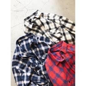 ユーズドチェックシャツ (レッド)