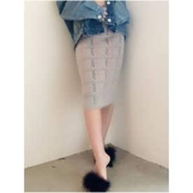 シャギーチェックタイトスカート (グレー)