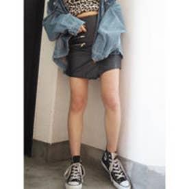 フェイクレザーアシメZIP スカート (ブラック)