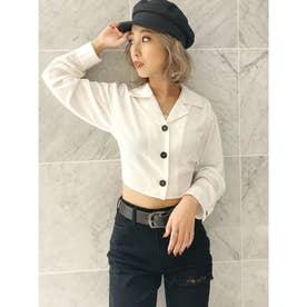 BACKデザイン リボンサテンシャツ (オフホワイト)