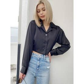 BACKデザイン リボンサテンシャツ (ブラック)