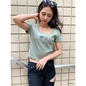MICKEY MOUSE/SHKATEEテレコショートTシャツ (ミント)