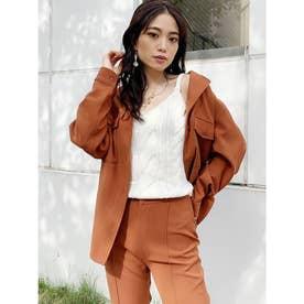 シンプルシャツジャケット (オレンジ) 【セットアップ対応】